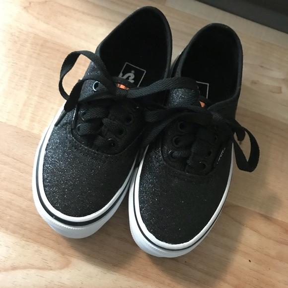 Vans Shoes | Black Glitter Vans Girls